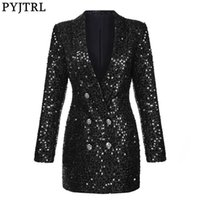 PYJTRL Fashion Women Shawl Lapel Shiny Sequins Suit Jacket Female Double-breasted Long Coat Slim Fit Blazers Autumn Clothes 211006