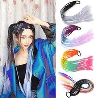 Синтетические наращивания волос Красочные Двухтона веревки резиновые ленты парики парик хвостические волосы кольцо для волос 22 дюйма твист тарелка