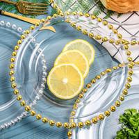 21 cm runde hochzeit klare goldene glas perlen ladegerät pates glasplatte für hochzeit tisch dekoration exquisite fruit steak teller