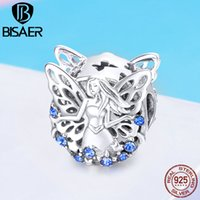 BISAER 925 Sterling Silver Elf Lucky Forest Fairy Angel Charms Beads fit Bracelet Silver 925 Beads for Jewelry Making EFC027 Q0531