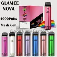 Authentische Glameglamme Nova-Einweg-Pod 4000Puffs Mesh-Coil-Vape-Stift-Gerät 12ml 2200mAh-Dampf-Stickleiste 20 Farben