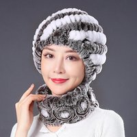 Hats, Scarves & Gloves Sets Women Real Rex Fur Hat Scarf Natural Warm Winter Lady