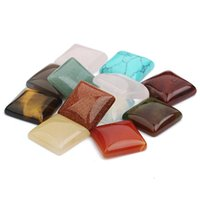 Natural crystal 16MM Square face Loose Beads opal Rose Quartz Tiger's Eye turquoise chakras stone for diy necklace earrings rings jewelry accessory