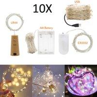 문자열 10x 10m 5m USB LED 구리 와이어 문자열 요정 빛 3M 2M 1M Garland 홈 크리스마스 웨딩 파티 장식 전원 배터리 LR44 CR2032
