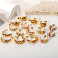 Hoop & Huggie Korean Fashion Stainless Steel Earrings For Girls Studs Tragus Piercing Gold Jewelry Earing Set Pack Oorbellen Aretes Brincos