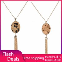 Pendant Necklaces Leopard Print Oval Necklace Gold Links Tassels Long Chain Wood Grain Designer Brand Jewelry