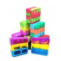 4 + 1 Silikonbehälter Case Carrier Carrier Square Box Non-Stick 26ml Blockbox für DAB Wax Öl Trockenkräuter Silikon Aufbewahrungsgefäß