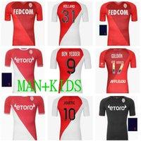 2021 2022 En Kaliteli Monaco Ben Yedder Futbol Formaları Jovetic Golovin Futbol Gömlek 21 22 Maillot Flokaj Jorge Erkekler Kids Kiti Üniforma