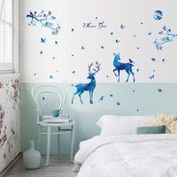 Wall Stickers Creative Blue Deer Art Sticker Waterproof For Living Room Bedroom PVC Decals