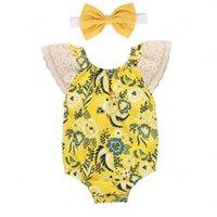 Floral recién nacido bebé mamelucos de manga de encaje Infantos Onesies Niñas Niñas Romper Sets Baby Casual Outfits Ropa de Bebé Kids Ropa Traje