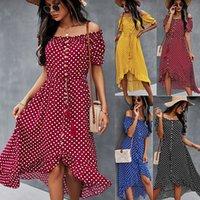 2021 Bağımsız Tasarım Kadın Elbise Büyük Tek Omuz Bahar Ve Yaz Klasik Polka Dot Etek