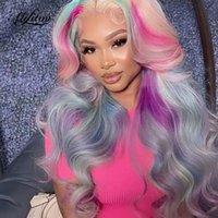 Spitze Perücken Alifitov Farbiger Menschliches Haar Regenbogen Rosa Blaue lila blonde Ombrotrierte Körperwelle Front Perücke Remy Vorpluened für Frauen