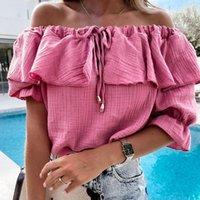 Women's Blouses & Shirts Slash Neck Women Blusas Mujer De Moda 2021 Verano Lace Up Summer Sexy Boho Beach Holiday Solid Blouse G2582