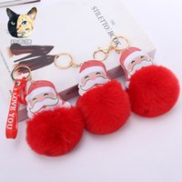 Big Red Santa Claus Fluffy Key Chain Party Gifts Faux Rabbit Fur Ball Pom Keychains Women Bag KeyRing HH21-465