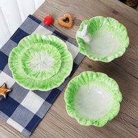 Cerámica de dibujos animados conejos platos de estilo repollo plato de conejos placa de fruta ensalada de tazón vajilla hogar fiesta decoración comedor suministros y0702