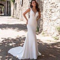 Other Wedding Dresses Sexy Simple Mermaid V-Neck Dress 2021 Sleeveless Sweep Train Button Bride Gown Satin Charming Vestidos De Novia