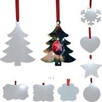 승화 빈 크리스마스 장식 양면 크리스마스 트리 펜던트 멀티 모양 알루미늄 플레이트 금속 매달려 태그 휴일 장식 OWA8879