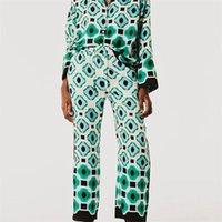 Женские брюки CAPRIS TRAF 2021 Женщины Мода Геометрические Графические Печать Брюки Ретро Высокая талия Наконечные Карманные Карманы Женская Streetw