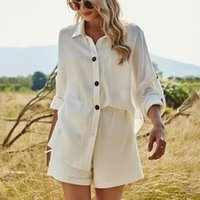 Women's Tracksuits 2021 Summer Beach Casual Button White Sets Cotton Linen Two Pieces Long Sleeve Shirt And Shorts Women Set Outfits