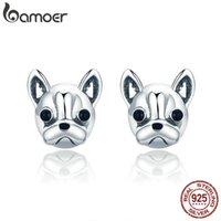 Bamoer 100% 925 Sterling Silber Treue Partner Französische Bulldogge Hundetier Kleine Ohrstecker für Frauen Oorbellen Schmuck SCE283 210312