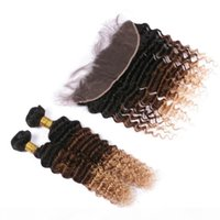 # 1B 4 27 Siyah Kahverengi ve Bal Sarışın Perulu Virgin Huamn Saç Örgüleri 2Bundles Derin Dalga ile 3 Ton Ombre 13x4 Dantel Frontal Kapatma