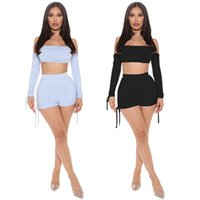 Women plus size tracksuits summer fall clothes fitness running gym sweatshirt t-shirt shorts pleated sportswear pullover slash neck crop top leggings outfits 01711