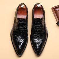 Handgemachte echtes Leder Kleid Schuhe Hohe Qualität Britisches Plaid Muster Lace Up Spitzgemälde Formale Hochzeitsfeier Schuhe F57