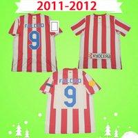 Atletico Madrid forması Kupası 2011 2012 Retro Futbol Formaları Eski Futbol Formaları ev kırmızı beyaz 11 12 klasik Üniformalar # 9 falcao yamalı en kaliteli