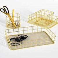 Storage Boxes & Bins Makeup Organizer Iron Art Nordic Rose Gold Basket Eyeliner Brush Set Cup Dressing Table Cosmetic Box