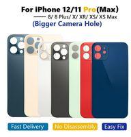 OEM Große Lochrückglas für iPhone 8 8Plus x XR xs 11 12 PRO MAX Batteriebatterie Back Gla-Rückseite