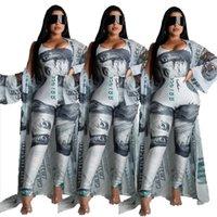 Summer Women Dollar Print Suit 3 Pieces Dress Tracksuits Bodysuits+Pants+Coat Pcs Leggings Fitness Outfit