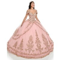 Pink Quinceanera Dresses Spaghetti Straps Off the Shoulder Gold Lace Applique Tiered Skirt Custom Made Sweet 16 Prom Ball Gown