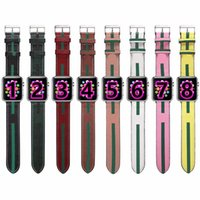 G fashion Strap Watchbands for Apple Watch Band 42mm 38mm 40mm 44mm iwatch 1 2 345 bands Leather Bracelet Fashion Stripes B01