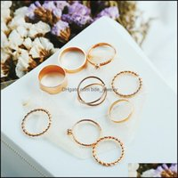 Band Rings Jewelrybohemian Retro Lady Crystal Joint Finger Nail Set 9 Piece Punk Ring Gift Drop Delivery 2021 Wtj5S