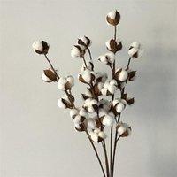 Decorative Flowers & Wreaths Flone Dried Flower Cotton Branch 6 Head Long Simulation Tree Home Wedding Decor Artificial