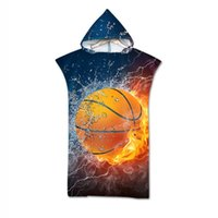 Towel Double Sided Printed Basketball Pattern Beach Baby For Man Woman Adult Hooded Bath Soft AHT26