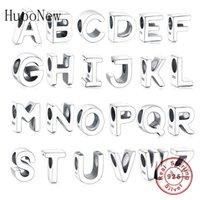 Huoonew Fit Original Pandora Подвески Браслет 925 Стерлингового серебра Алфавит Алфавит A-Z Бисер Kralen Для Ювелирных Изделий Berloque Q0531