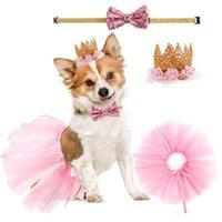 Köpek Giyim Pet Doğum Günü Şapka Yaka Elbise Seti Chihuahua Ilmek Tokalar Karikatür Bebek Bandı Renkli Kıyafet Par