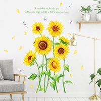 Wall Stickers Sunflower With 3D Butterfly Kids Bedroom Living Room Kitchen Green Leaves Background Home Decor Mural Pegatinas