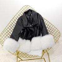 Women's Leather & Faux Famale 2021 Winter Elegant PU Coats Women Autumn Loose Long Sleeve Turn-down Collar Patchwork Artificial Fur Short Co