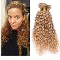 Loira de morango Afro Kinky Cabelo Humano Cabelo Humano Weave Virgin Brazilian Hail Wafts # 27 Loira Kinky Curly Hair Extensions 3 Pcs Lot