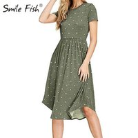Casual Dresses Spring Women Vintage Dress Robe Femme Loose A-line Midi O-neck Pockets Polka Dot Pleated Plus Size GV515