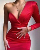 Casual Dresses Bodycon Women Winter Dress 2021 Sexy Single Sleeve V Neck Red White Designer Fashion Evening Party Club Bandage Vestido