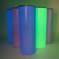 20 oz sublimartion flaco luminoso tumblers recto de acero inoxidable taza fluorescente taza de sublimación botella de agua lla350