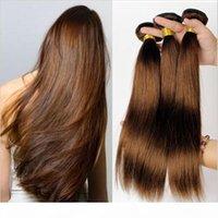 # 4 Middium Brown Бразильская Дева REMY Fair Silky Prime Weave 3PCS Лот Шоколад Mocha Бразильские Прямые Человеческие Усилители волос