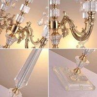 Titulares de vela 5 cabeça acrílico ouro banhado a vara de cristal da vara candelabres 77cm / 30 \ g9ug