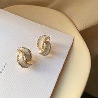 Stud 2021 Arrival Trendy Crystal Elegant Drop Glaze Geometric Earrings For Women Fashion Metal Jewelry Oorbellen Gift