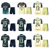 Clube América 2019 2020 Futebol 22 Paul Aguilar Jersey Definir 24 Oribe Peralta 8 Guido Rodriguez 30 Renato Ibarra Camisa de Futebol Kits Uniforme