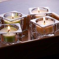 حاملي الشموع شفاف الشمال 4 حزمة زجاج الشمعدان الكريستال هدية ضوء للمنزل الطرف الزفاف الجدول ديكور اليدوية