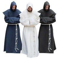 S-5XL Renaissance Monnik Clergy Habit SCapular Friar Costume Religious Saint Gown Cobe Heren PRIEST HOOD CILE HALLOWEEN OUTFIT G0913